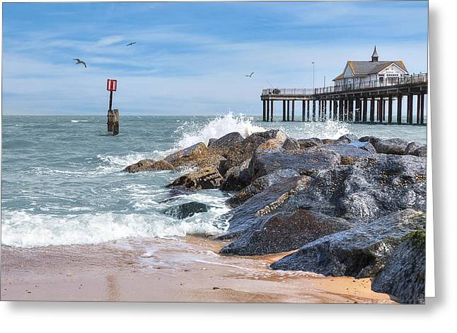 Sunny Decor Greeting Cards - Tides Turning - Southwold Pier Greeting Card by Gill Billington