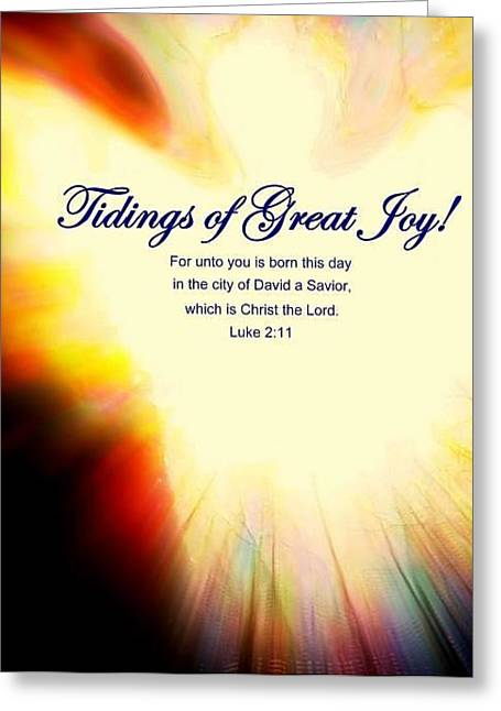 Luke 2:11 Greeting Cards - Tidings of Joy with Verse Greeting Card by Kathleen Luther