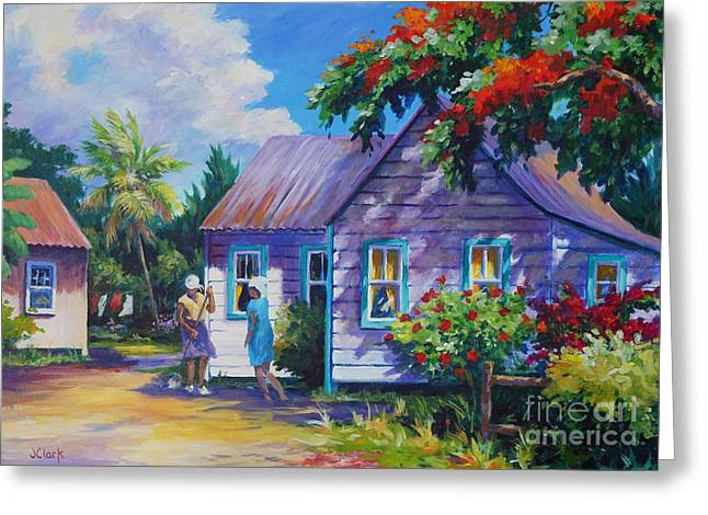 Acrylic Art Greeting Cards - Tidying the Yard Greeting Card by John Clark
