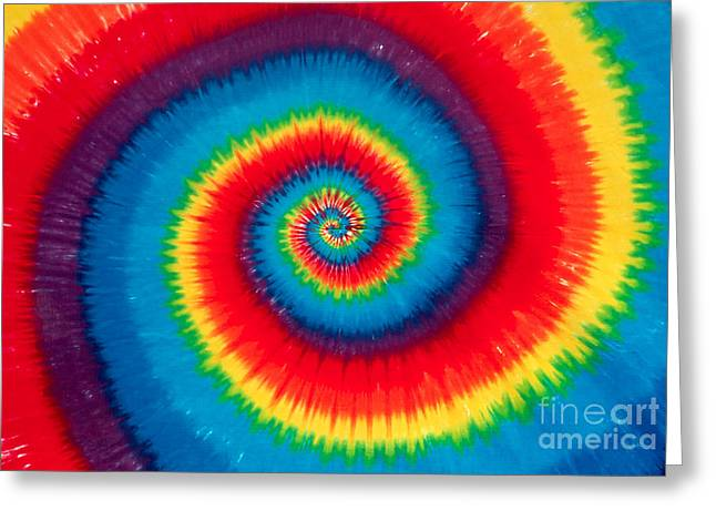 1970s Music Greeting Cards - Tie Dye Greeting Card by Anthony Sacco