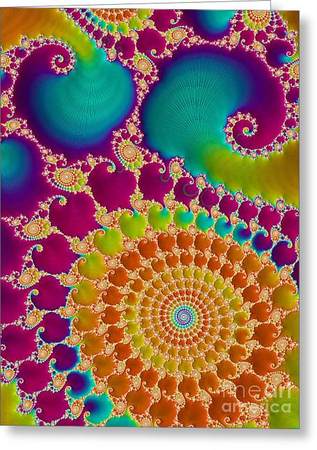 Trance Greeting Cards - Tie Dye Spiral  Greeting Card by Heidi Smith