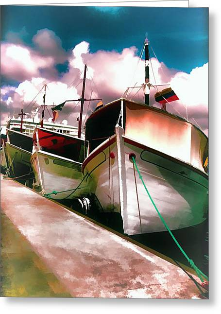 Boats At Dock Greeting Cards - Boats at Dock in Curacao Greeting Card by Marty Malliton
