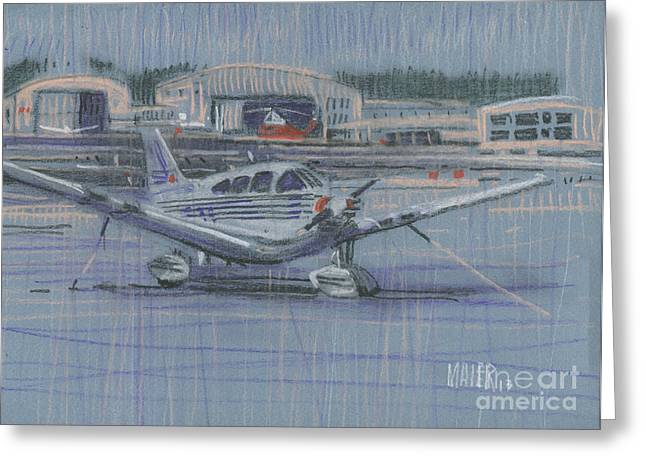 Plane Greeting Cards - Tied Down Greeting Card by Donald Maier