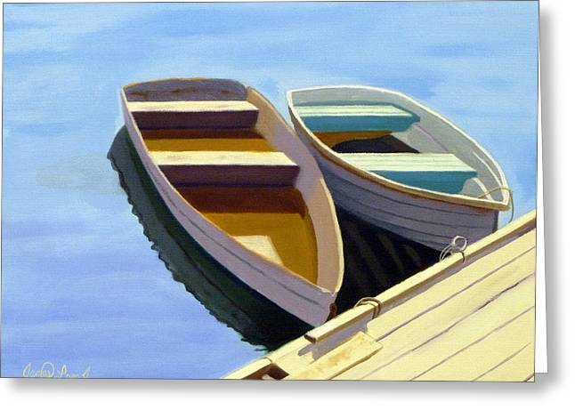 Boats At Dock Greeting Cards - Tied Up at the Dock 2 Greeting Card by JJ Long