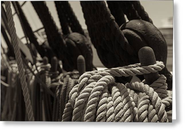 Sailboat Ocean Greeting Cards - Tied Up black and White sepia Greeting Card by Scott Campbell