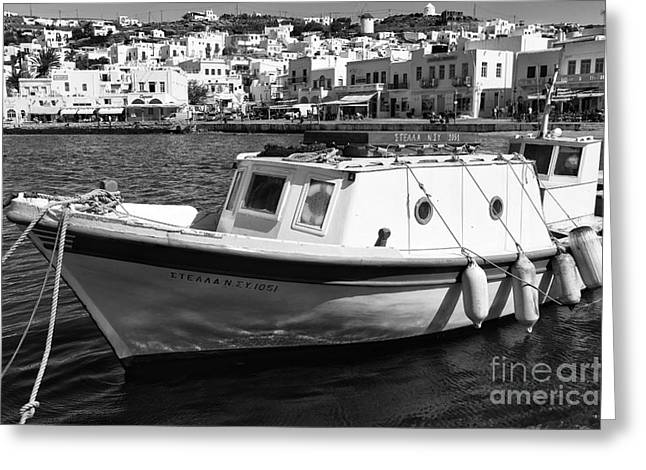 Boats In Harbor Greeting Cards - Tied Up in Mykonos Town mono Greeting Card by John Rizzuto