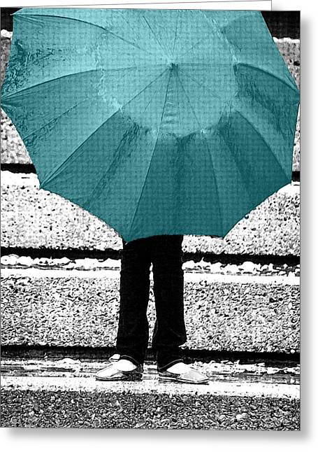 Selective Colouring Greeting Cards - Tiffany Blue Umbrella Greeting Card by Lisa Knechtel