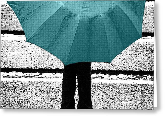 Tiffany Blue Umbrella Greeting Card by Lisa Knechtel