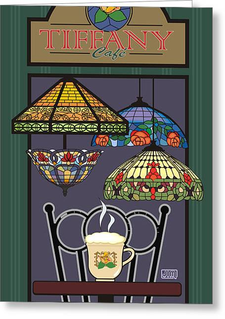 Menu Digital Art Greeting Cards - Tiffany Cafe Greeting Card by Jim Sanders
