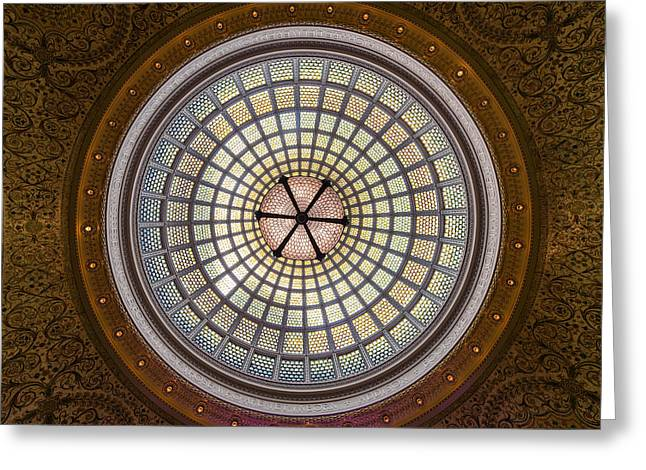 Tiffany Greeting Cards - Tiffany Dome in Chicago Cultural Center Greeting Card by Steve Gadomski