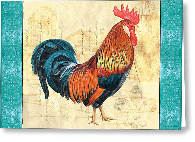 Aqua Blue Greeting Cards - Tiffany Rooster 1 Greeting Card by Debbie DeWitt