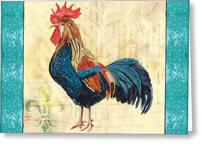 Aqua Blue Greeting Cards - Tiffany Rooster 2 Greeting Card by Debbie DeWitt