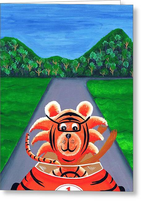 Childre Greeting Cards - Tiga and Ted - The Speedy Tiger Greeting Card by Glenn  Russell