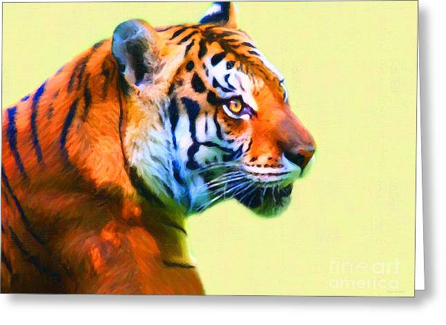 Tiger . 7d2058 . Painterly Greeting Card by Wingsdomain Art and Photography