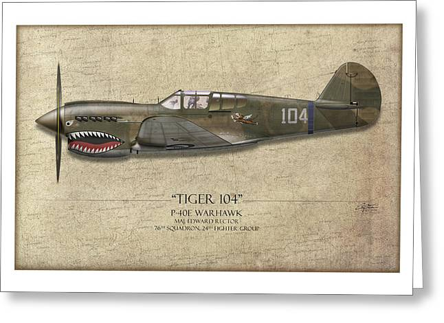E Black Greeting Cards - Tiger 104 P-40 Warhawk - Map Background Greeting Card by Craig Tinder