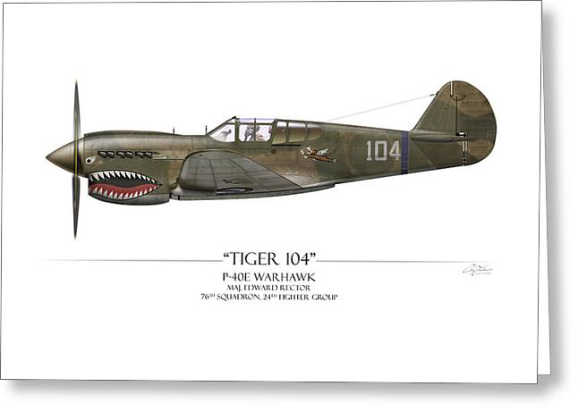 E Black Greeting Cards - Tiger 104 P-40 Warhawk - White Background Greeting Card by Craig Tinder