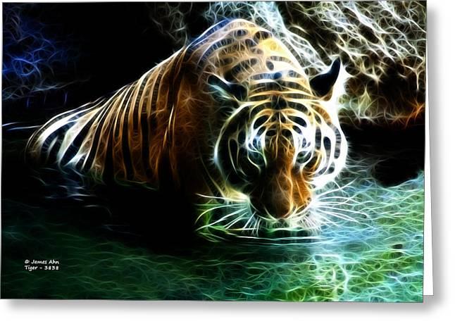 Tiger Fractal Greeting Cards - Tiger 3838 - F Greeting Card by James Ahn