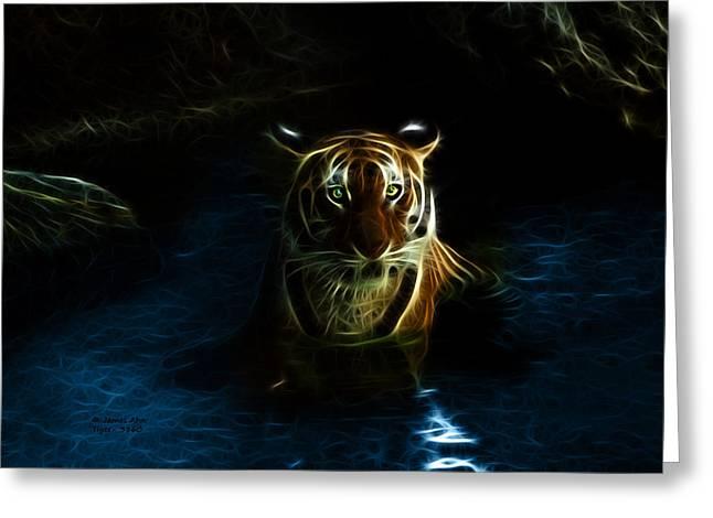Tiger Fractal Greeting Cards - Tiger 3860 - F Greeting Card by James Ahn