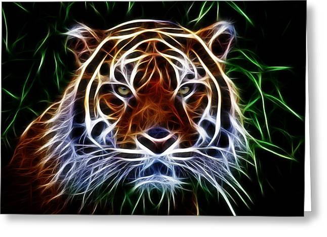 Growling Greeting Cards - Tiger Abstact Art Greeting Card by Steve McKinzie