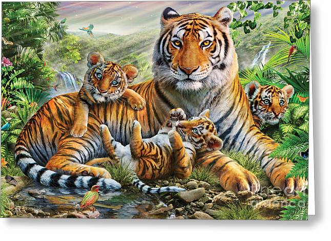 Tiger Illustration Greeting Cards - Tiger And Cubs Greeting Card by Adrian Chesterman