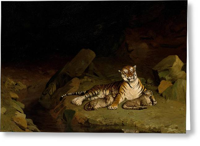 Gerome Greeting Cards - Tiger and Cubs Greeting Card by Jean-Leon Gerome