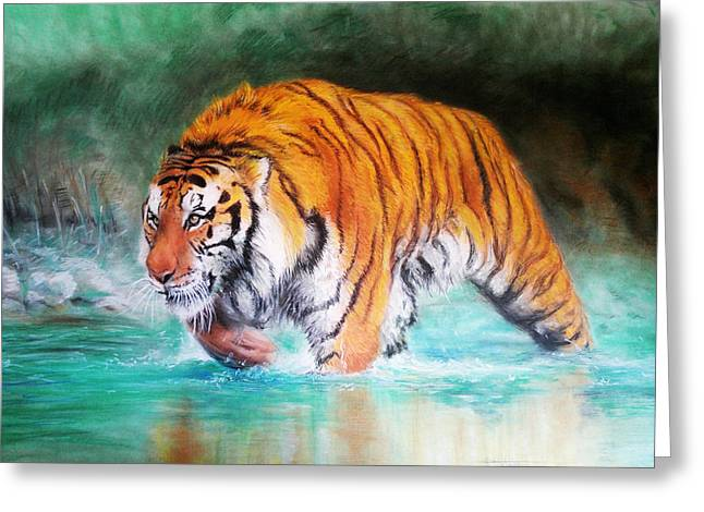 Amazing Pastels Greeting Cards - Tiger Greeting Card by Andrei Stefan