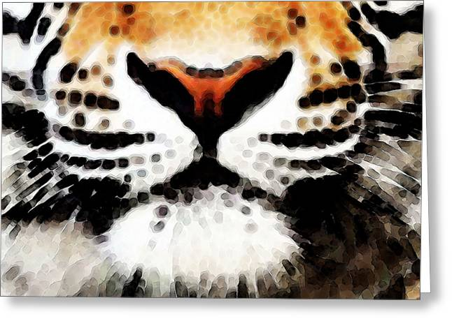 College Football Greeting Cards - Tiger Art - Burning Bright Greeting Card by Sharon Cummings
