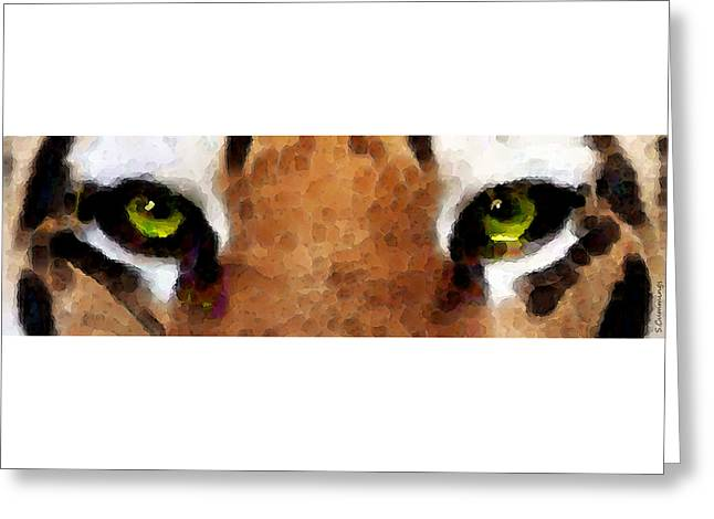 Tigers Digital Greeting Cards - Tiger Art - Hungry Eyes Greeting Card by Sharon Cummings