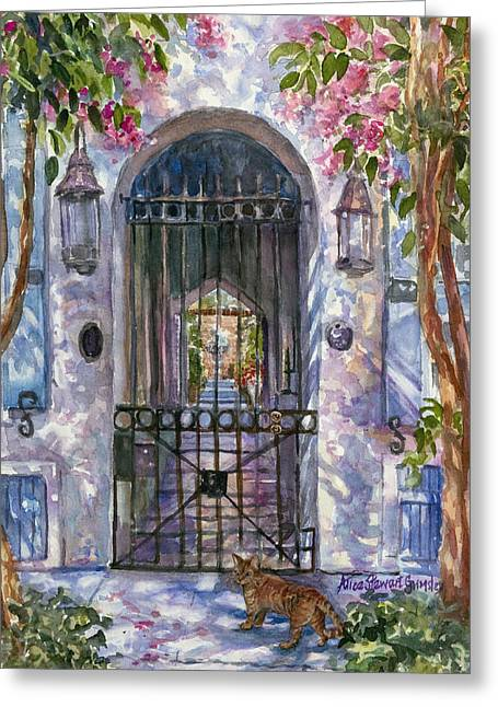 Charleston Greeting Cards - Tiger at the Gate Greeting Card by Alice Grimsley