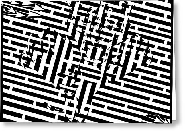 Maze Drawings Greeting Cards - Tiger Attack Maze Greeting Card by Yonatan Frimer Maze Artist