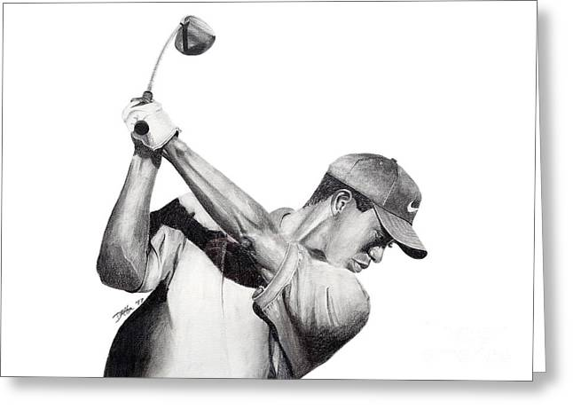 Tiger Backswing Greeting Card by Devin Millington