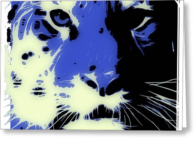 Tilly Art Greeting Cards - Tiger Blue Greeting Card by Tilly Williams