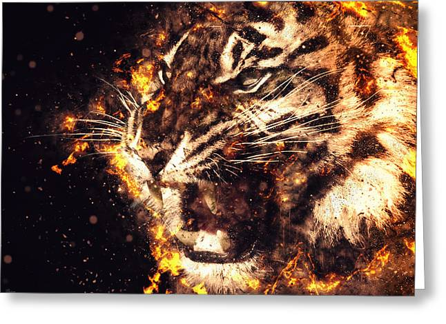 Tigers Digital Greeting Cards - Tiger Greeting Card by Bojan Jevtic