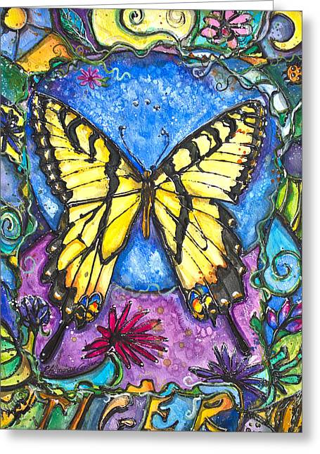 Sweat Mixed Media Greeting Cards - Tiger Butterfly Children of the Earth Greeting Card by Patricia Allingham Carlson