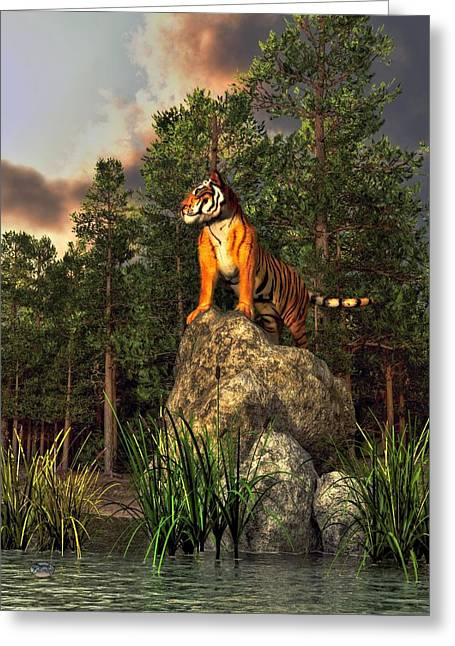 Tiger By The Lake Greeting Card by Daniel Eskridge