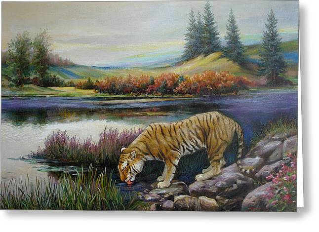 Naturism Greeting Cards - Tiger by the river Greeting Card by Svitozar Nenyuk