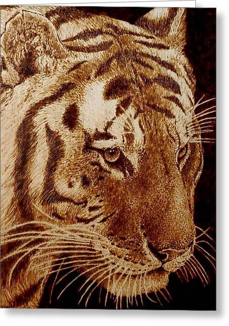 Monochrome Pyrography Greeting Cards - Tiger Greeting Card by Cara Jordan