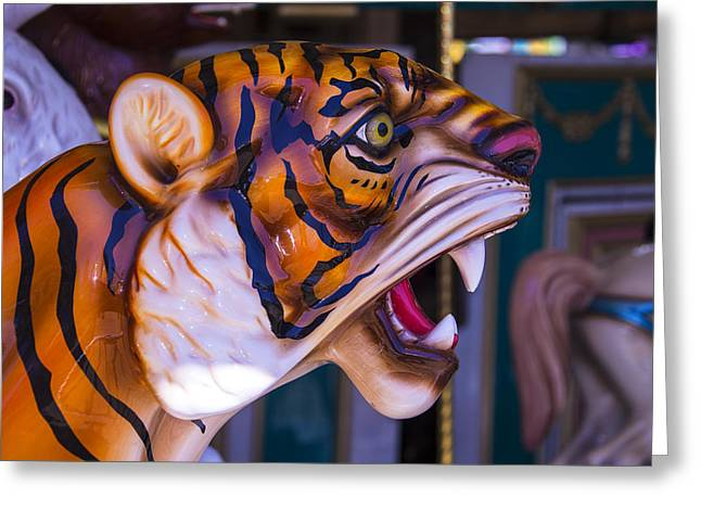 Tiger Photographs Greeting Cards - Tiger Carrousel Ride Greeting Card by Garry Gay