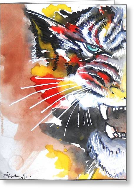 Beast Dancer Greeting Cards - Tiger Greeting Card by Charushree Amar