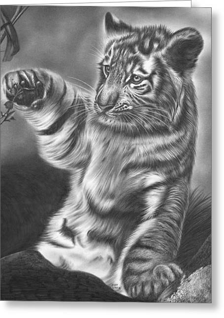 Graphite Poster Greeting Cards - Tiger Cub Greeting Card by Jerry Winick