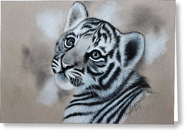 Hyperrealistic Greeting Cards - Tiger Cub Greeting Card by Samantha Howell
