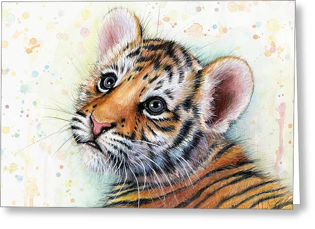 Colorful Animal Art Greeting Cards - Tiger Cub Watercolor Art Greeting Card by Olga Shvartsur