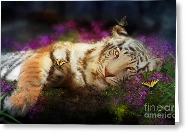 Fuschia Greeting Cards - Tiger Dreams Greeting Card by Aimee Stewart