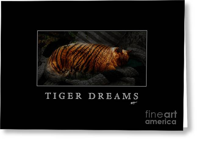Tiger Dream Greeting Cards - Tiger Dreams Poster Greeting Card by Kathi Shotwell