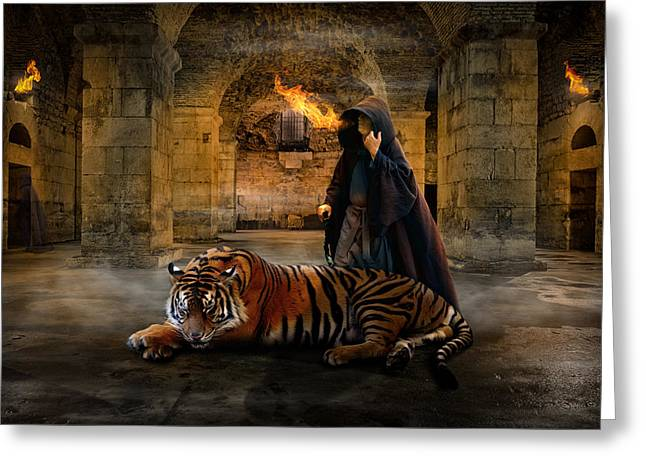 Dungeons Greeting Cards - Tiger Dungeon Greeting Card by Brett Warner