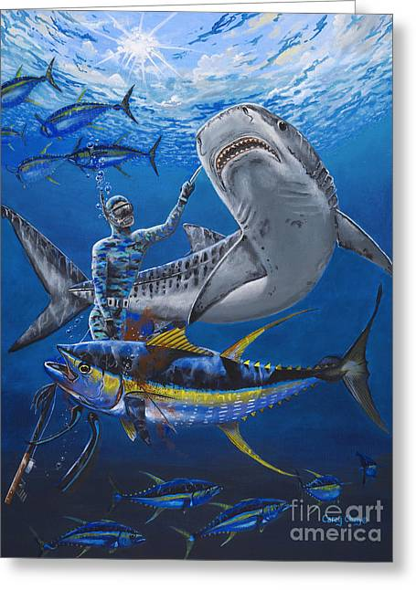 Swordfish Paintings Greeting Cards - Tiger Encounter Greeting Card by Carey Chen
