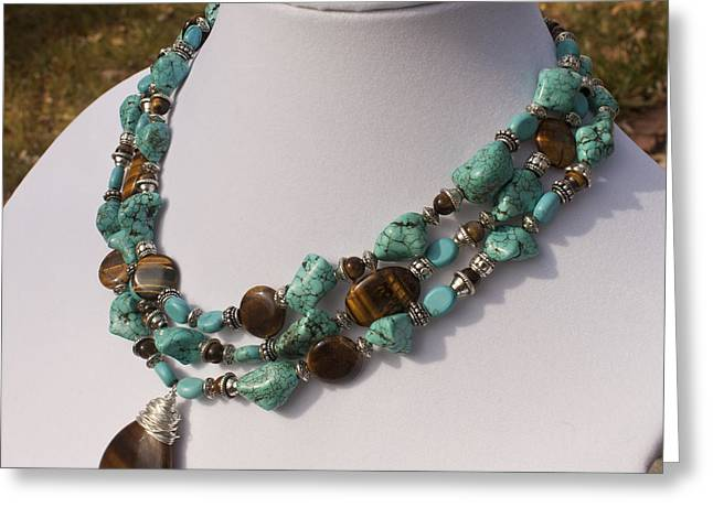Design Jewelry Greeting Cards - Tiger Eye and Turquoise Triple Strand Necklace 3640 Greeting Card by Teresa Mucha