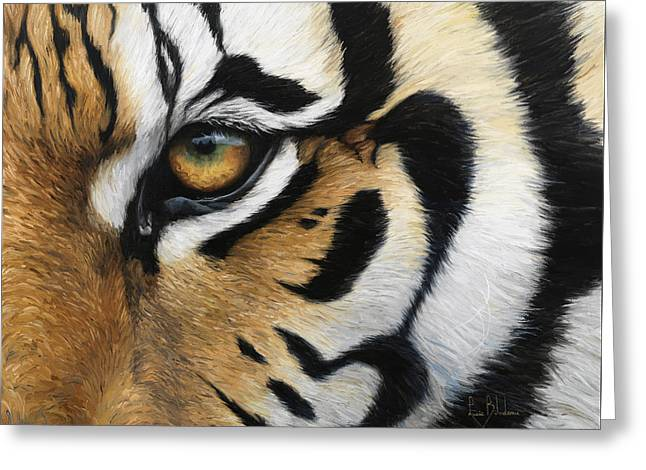 Tigers Greeting Cards - Tiger Eye Greeting Card by Lucie Bilodeau