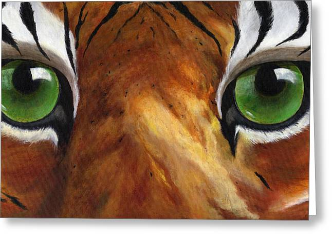 Mike The Tiger Greeting Cards - Tiger Eyes Greeting Card by Donna Tucker