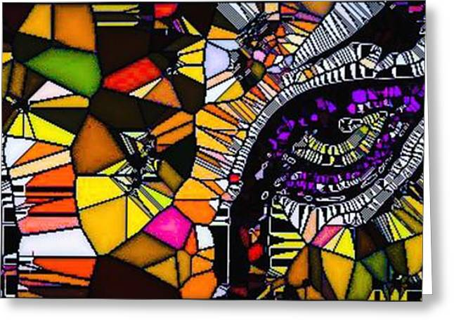 The Tiger Greeting Cards - Tiger Eyes Mosaic Greeting Card by Tina  Vaughn